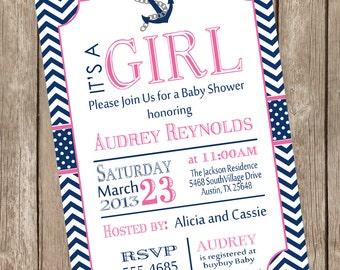 Girl Nautical baby shower invitation, pink, navy, anchor, nautical, girl baby shower invitation, printable invitation, nautical4