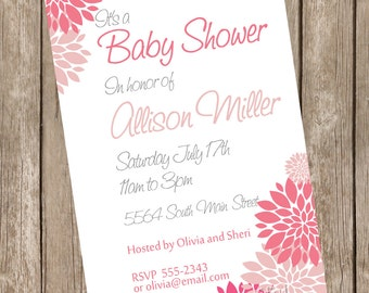 Girl baby shower invitation, pink, white, flowers, printable invitation 121204-K4-2