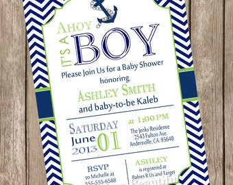 Chevron Ahoy it's a boy baby shower invitation, lime green, navy, anchor, nautical, printable invitation