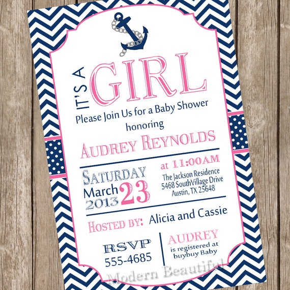girl nautical baby shower invitation pink navy anchor, Baby shower