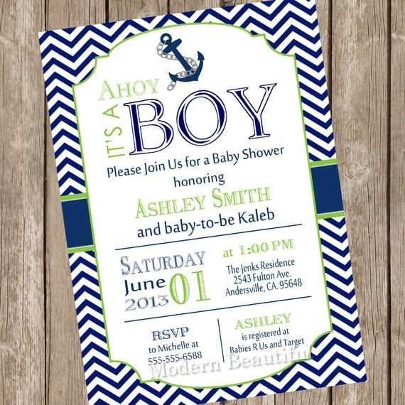Chevron Ahoy It S A Boy Baby Shower Invitation Lime