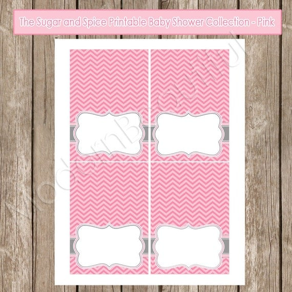 Baby Shower Buffet Menu: Pink Sugar And Spice Chevron Baby Shower