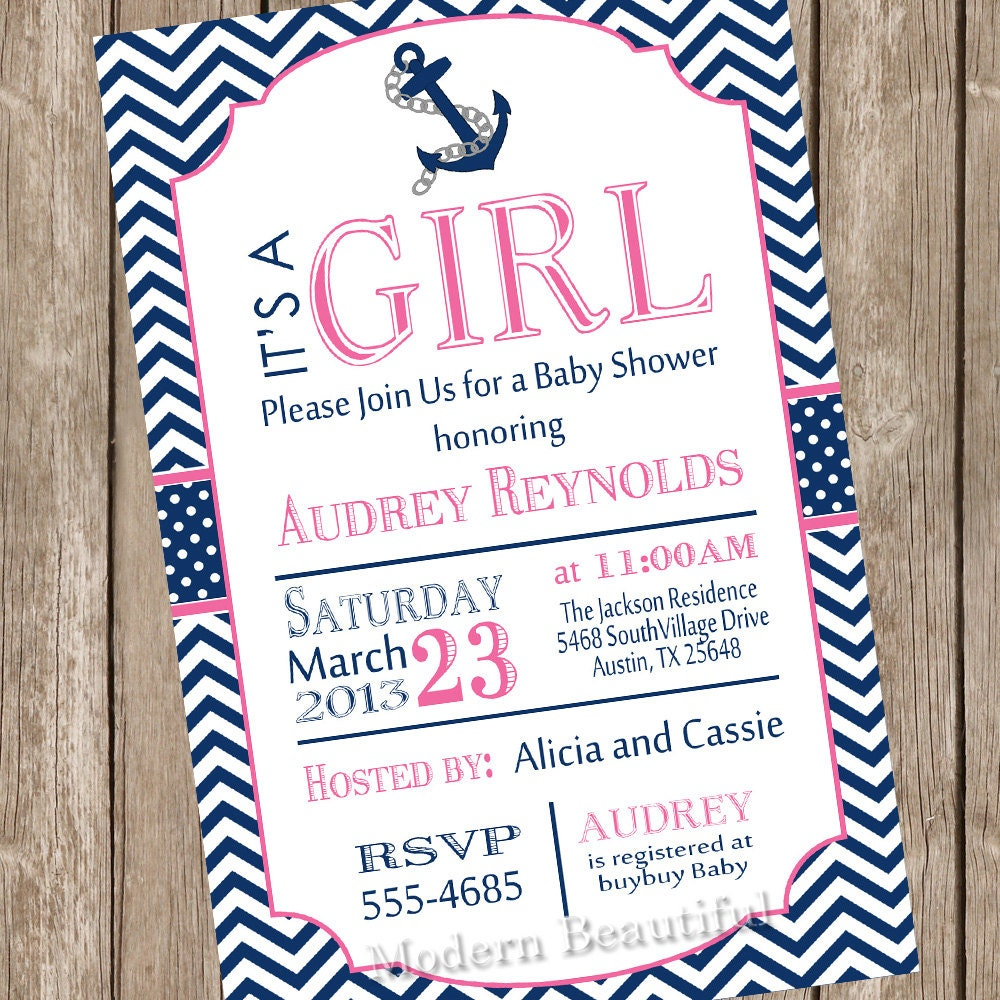 girl nautical baby shower invitation pink navy anchor