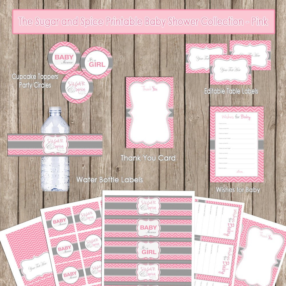 Sugar And Spice Baby Shower: Sugar And Spice Baby Shower Package Chevron Baby Shower Pink