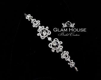 Crystal Bridal bracelet,Vintage inspired filigree, Bridal Jewelry,heart bracelet,silver filigree,filigree bracelet,vintage bracelet,bracelet