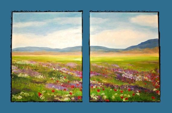 Colorful Plain - Original Oil Painting (poppy, spring, summer flowers, landscape, field, sky, hills, peaceful)