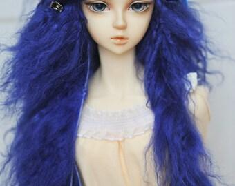 "10in"" Long Dark Blue Wavy Tibetan Mohair Wig for Volks BJD SD Dolls"