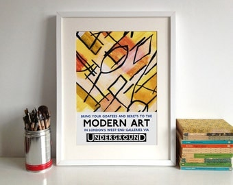 "London Underground Poster Print: ""Modern Art""  Retro Style Print"