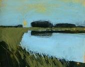 Original landscape wetland painting - Still waters