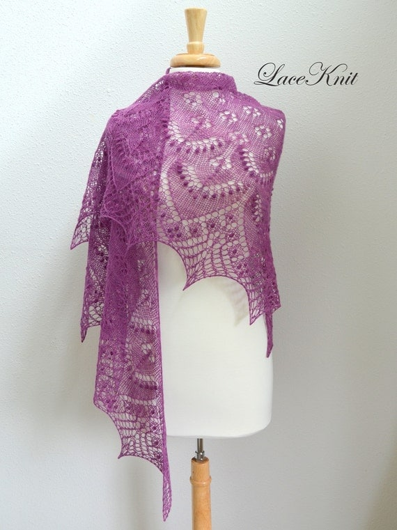 Shawl by Lace Knit. Hand Knitted Lace Shawl, Stole, Scarf. Triangular Wrap. Choose color and yarn you like