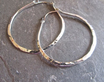 Large Hammered silver hoops / Hand forged silver earrings / Everyday silver jewelry / Rustic jewelry / Forged metal jewelry