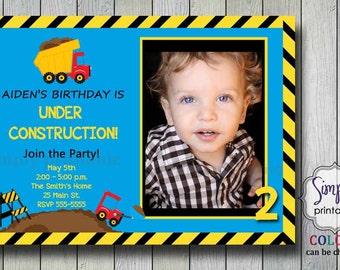 Construction Invitation Birthday - Light Blue