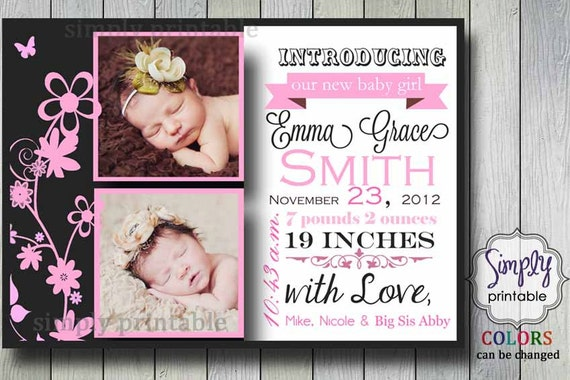 Printable Birth Announcement for Girls