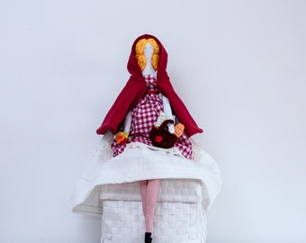 Red Hood doll Fabric Character doll, Luxury cloth doll, Unique ragdoll, Size 26' /66 cm Girl gift Collectable, OOAK