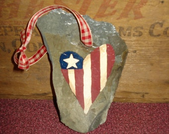 Patriotic Americana Heart Ornament
