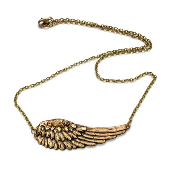 Steampunk Necklace Wing Necklace Steampunk Airship Pirate Necklace Antique Brass Bird Necklace Steam Punk Jewelry Victorian Curiosities