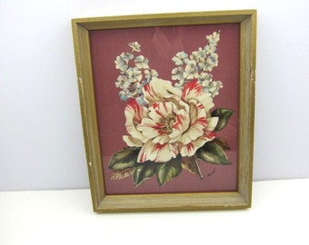 Floral Rene Print, Lovely Rose, Framed