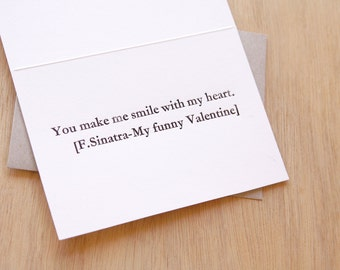 Valentineu0027s Day Card Frank Sinatra Letterpress U0027You Make Me Smile With My  Heart   My