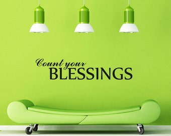 Wall Decal Count Your Blessings Vinyl Decal Home Decor