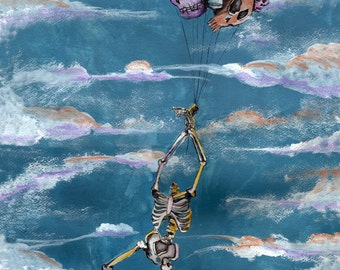 Skeleton with Balloon Skulls in flight Watercolor Art print