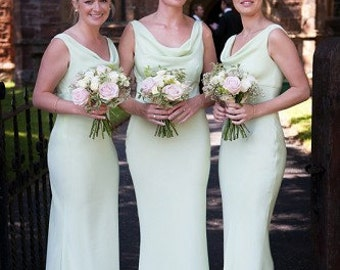 Mint green crepe backed silk cowl neck floor length bridesmaid dress/gown. Slinky and simple. Other colours/lengths available.