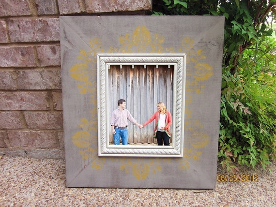 Damask Distressed Picture Frame, Barnwood / Antique Gold / Antique White / Silver