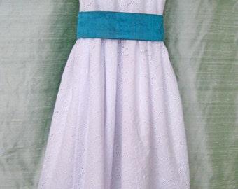 White Cotton Eyelet Flower Girl Dress with Turquoise Sash Sizes 3T & 4T