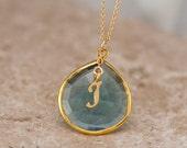December Birthstone Necklace - London Blue Topaz Necklace - Script Letter - Monogram Necklace - Gold Necklace - Personalized Jewelry