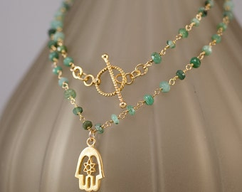 Raw Emerald Necklace -May Birthstone -  Hamsa Charm - Gold Necklace - Toggle Clasp