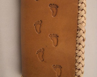 Leather Wallet or Business Card Holder, Handtooled Footprints with Braided Edges