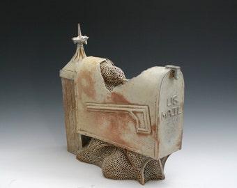 Mailbox, Busy Bee Series, Mailbox Sculpture, Soda Fired Ceramic Sculpture