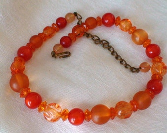 Antique Czech Glass Beads Necklace,Tempting Tangerine, Ready for a Autumn Debut