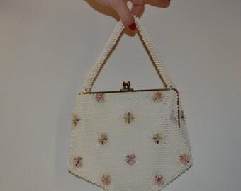 Vintage 1950s White Floral Purse - Corde Bead Handbag - Wedding Bridal Fashions