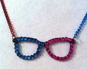 Fun two toned pink and blue bling rhinestone glasses necklace, geekery geek necklace, fun jewelry, pink blue necklace, rhinestone necklace,