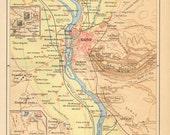 1890 Original Antique Map of Cairo and its Surroundings, the Pyramids, Sakkara, Memphis, Egypt