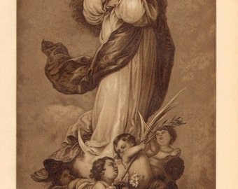 1894 The Immaculate Conception Of Aranjuez or The Immaculate one of Aranjuez by Bartolomé Esteban Murillo Antique Lithograph