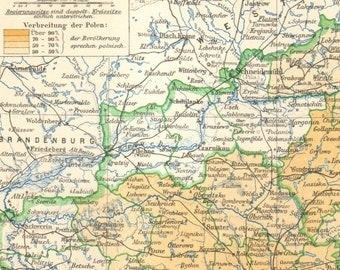 1906 Original Antique Dated Map of the Province of Posen, German Empire