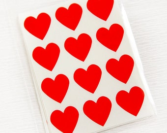 48 Heart Label Stickers- RED