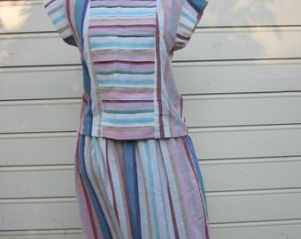 Lovely Vintage 2 Pc Handsewn Dress, Skirt and Blouse, Retro Stripes, Pink, Blue, White, Brown