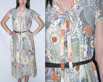 Astral .. Vintage 70s day dress / 1970s boho floral midi / abstract op art / flutter sleeve pussy bow ... S M