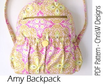 Lined Zippered Backpack PDF Sewing Pattern - Amy by ChrisW Designs