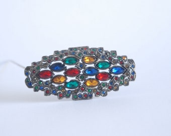 1940's Multi Colored Brooch - Green Blue Red Yellow