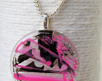 Painted Modern Graffiti on Glass Pendant Necklace in Black and Pink