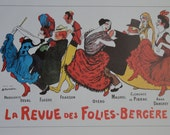 Vintage Poster Art, Paris Cabaret Music Hall Poster, The Performers of Folies Bergere, Chevalier and Guerra, Printed in USA in 1977
