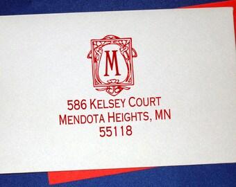 Custom Art Nouveau Monogram Address Stamp,  Vintage Art Deco Monogram Return Address, Self Inking Wedding Stamp, Art Nouveau Wedding Stamp