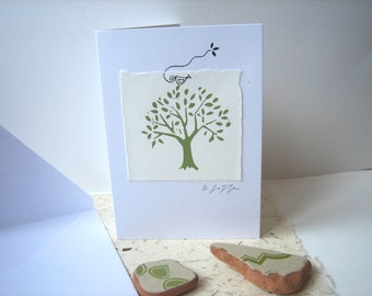 Original Hand Printed Card, Linocut Signed - Green Tree and Bird - Handmade