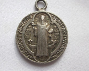 "Saint  Benedict Antique Religious Medal on 18"" sterling rolo chain"