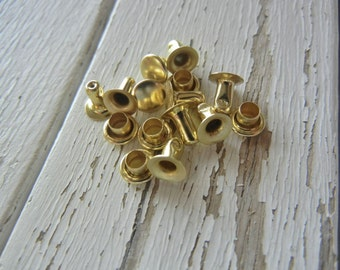 Extra Small Single CAP Rivets - Shiny Brass Plated - Great for Leather and Metal - 100 Pack - Cap Rivets - aka Snap Rivets