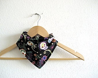 Flowers and Skulls Bandana Bib
