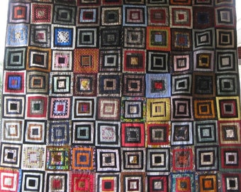 STUNNING Antique LOG CABIN Vintage Quilt- A Work of Art - Silks, Velvets, Wools, Dress Shirts